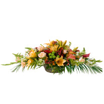 Basket for funeral in white and orange colours