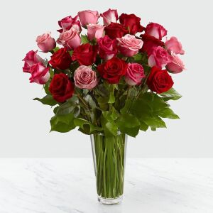 24 Red & Pink Roses in Vase